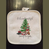 Christmas Linen Pot Holder
